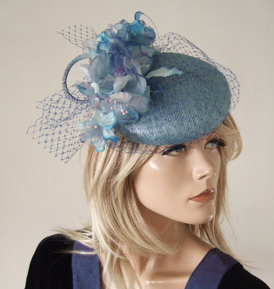 "Metallic Blue Royal and Baby Blue Veiled Floral and Feathers Headpiece Hat  ""Bella"""